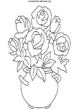 Disegno Colorare Vaso Di Rose Painting Inspirations Fabric