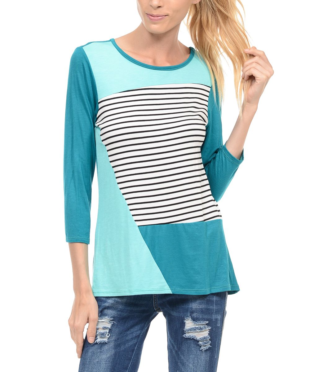 Teal & Mint Stripe Color Block Tunic