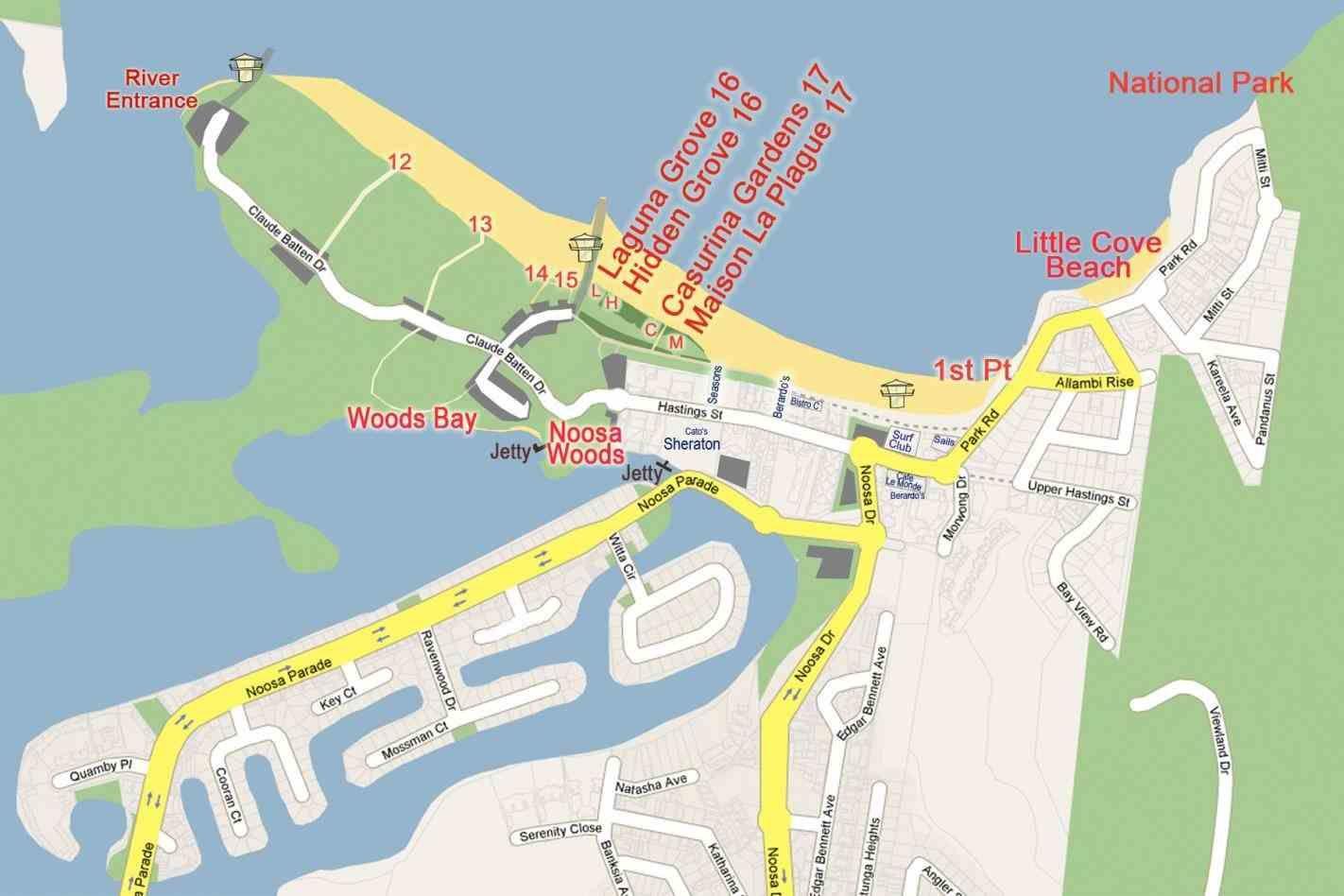 located noosa australia map on the beautiful sunshine coast