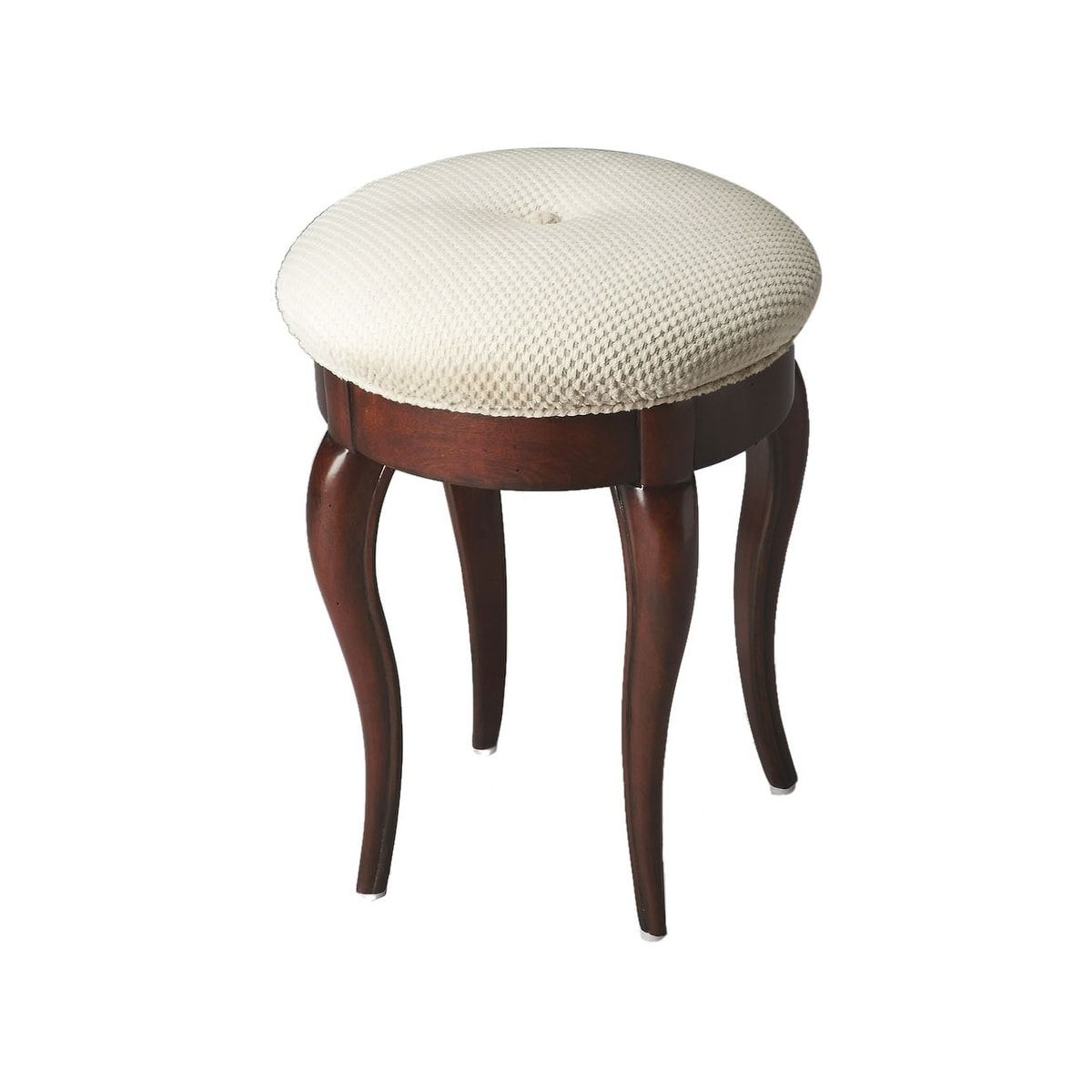 Groovy Traditional Wooden Round Vanity Stool In Plantation Cherry Gamerscity Chair Design For Home Gamerscityorg