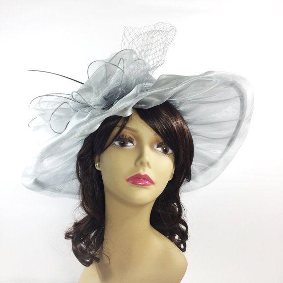 Chic Ladies Sheer Grey Silver Organza Tea Party Hat Summer ... 7f0fe15aa46