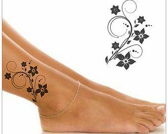 tatouage temporaire fleur imperm able pied faux tatouage mince tatouage pinterest tatouage. Black Bedroom Furniture Sets. Home Design Ideas