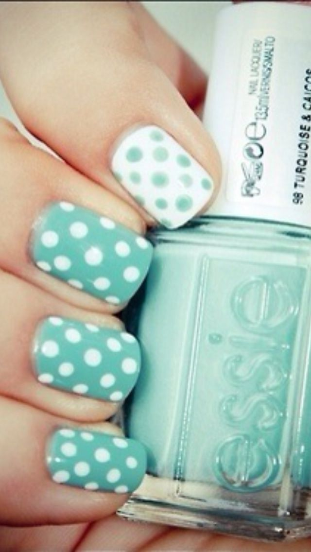 Polkie Dot Nails (color: Essie Turquoise & Caicos) | Nails ...