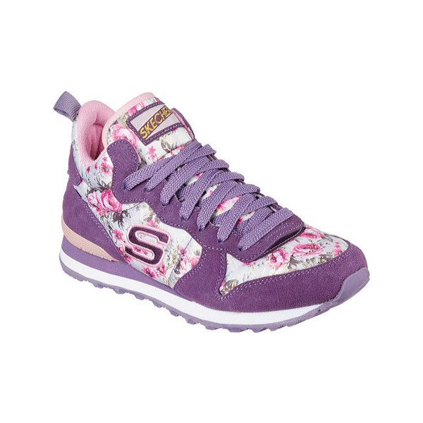 Women's Skechers Retros OG 85 Hollywood Rose High Top - Purple/Pink... ($46) ❤ liked on Polyvore featuring shoes, sneakers, casual, casual shoes, grip trainer, floral shoes, purple sneakers, pink sneakers and floral high top sneakers