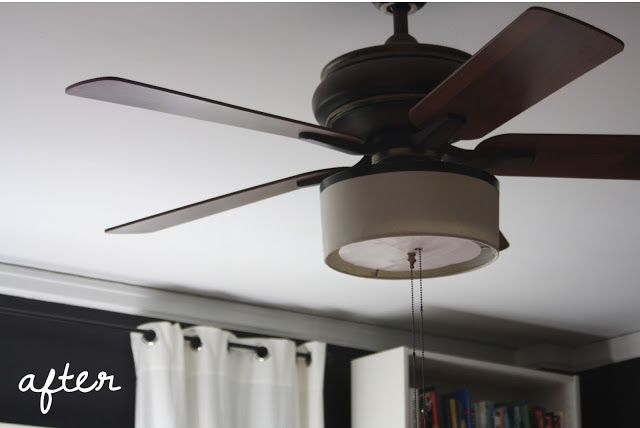 The Before And After After Diy Drum Shade Ceiling Fan Makeover Ceiling Fan Diy