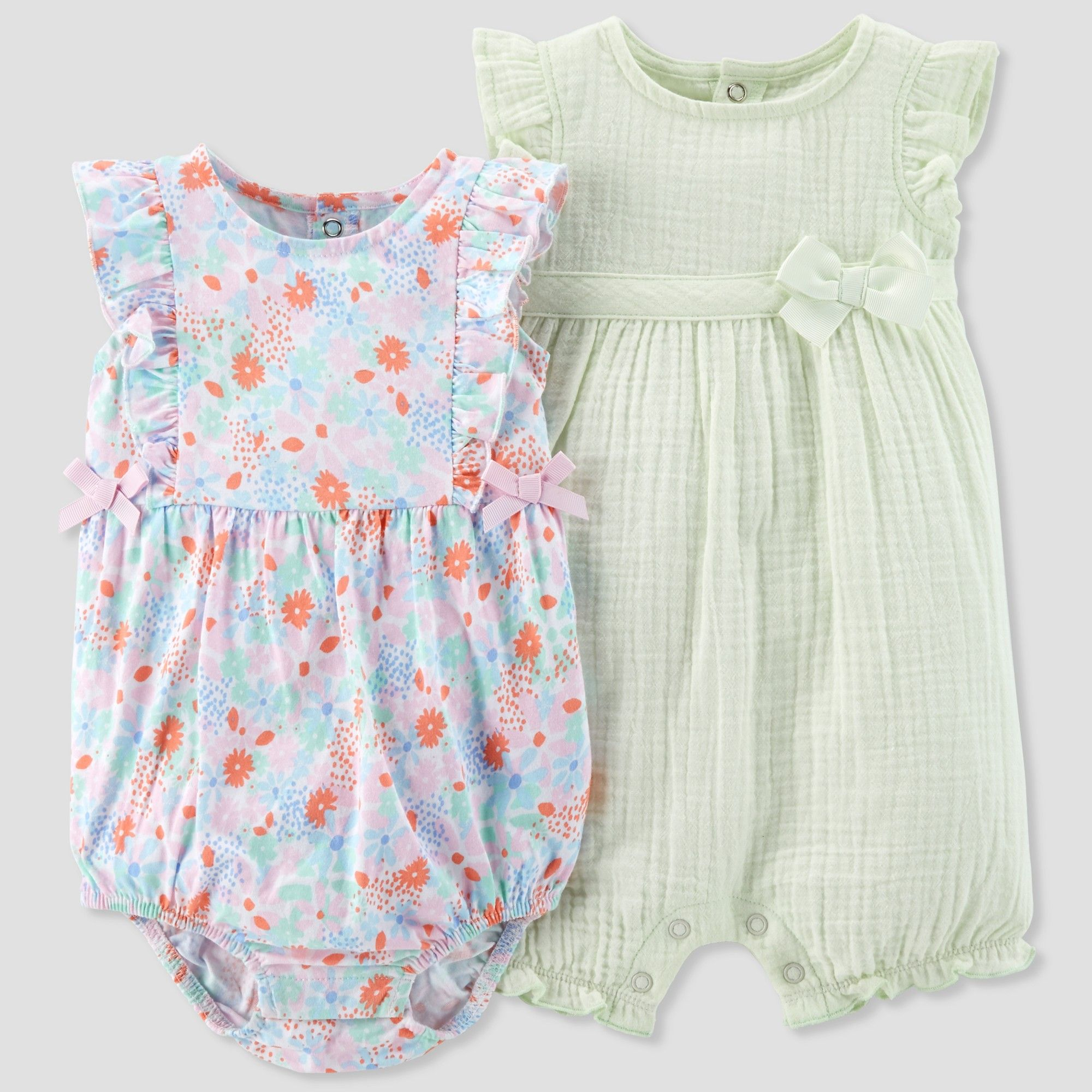 9e4249e28 Baby Girls  2pk Romper Set - Just One You made by carter s Mint ...