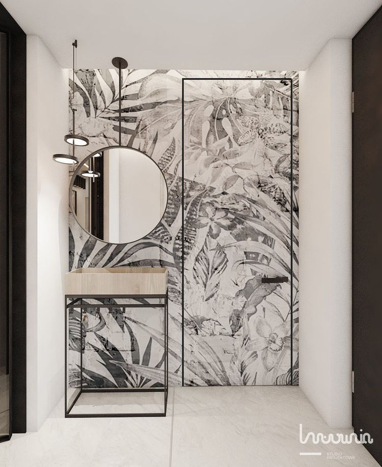 Photo of Tropical wallpaper used in a bathroom again. Loving the monochrome look this tim…