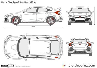 Honda Civic Type R Hatchback Fk8 Vector Drawing Honda Civic Type R Honda Civic Honda Type R