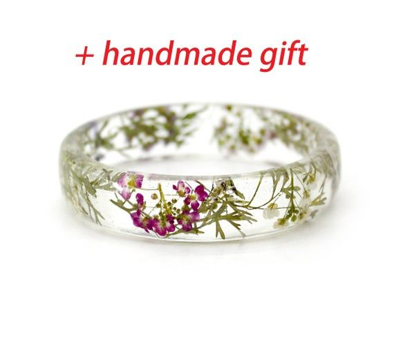 Rosa gepresster Blumenschmuck Harzblumenarmband Echter Blumenschmuck Klarer Harzarmreif Terrarium Trockenblumenschmuck Terrarium Armband