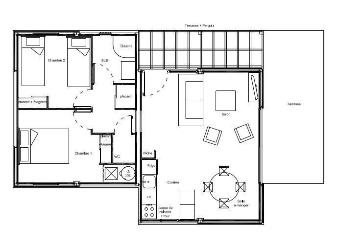 Plan cottage hll 62m HLL - Habitation légère de loisirs Pinterest - prix d une extension de maison de 20m2