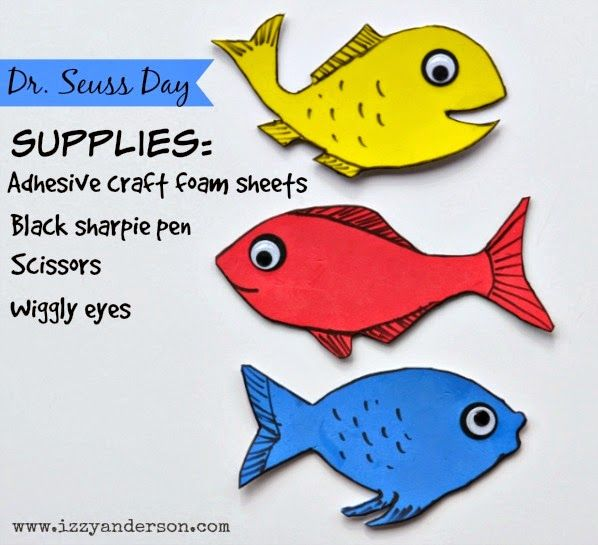 Blog has cute ideas for dr seuss dress up day use craft for One fish two fish red fish blue fish costume