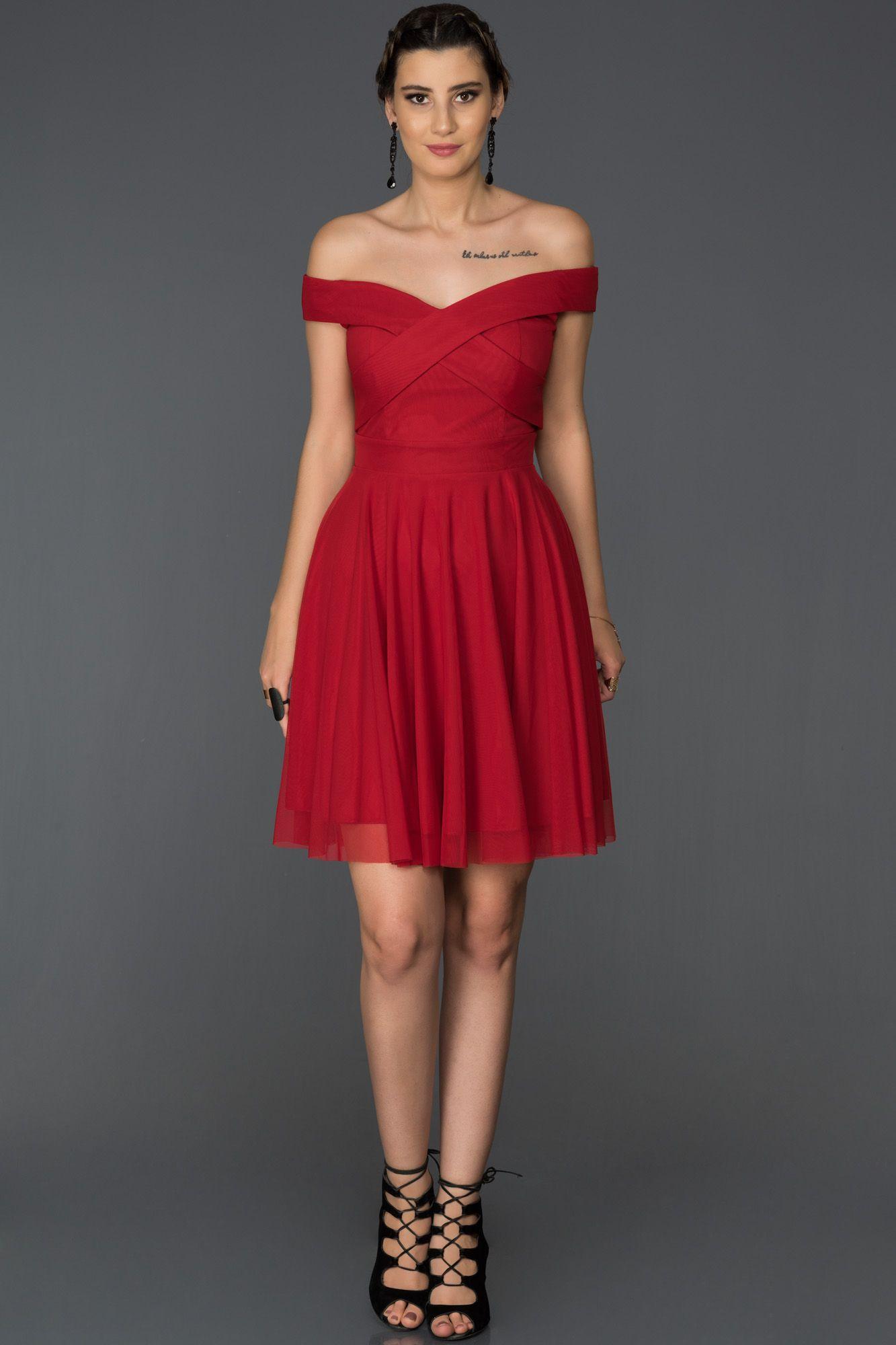 Kirmizi Kayik Yaka Tullu Elbise Abk008 The Dress Elbise Elbise Modelleri