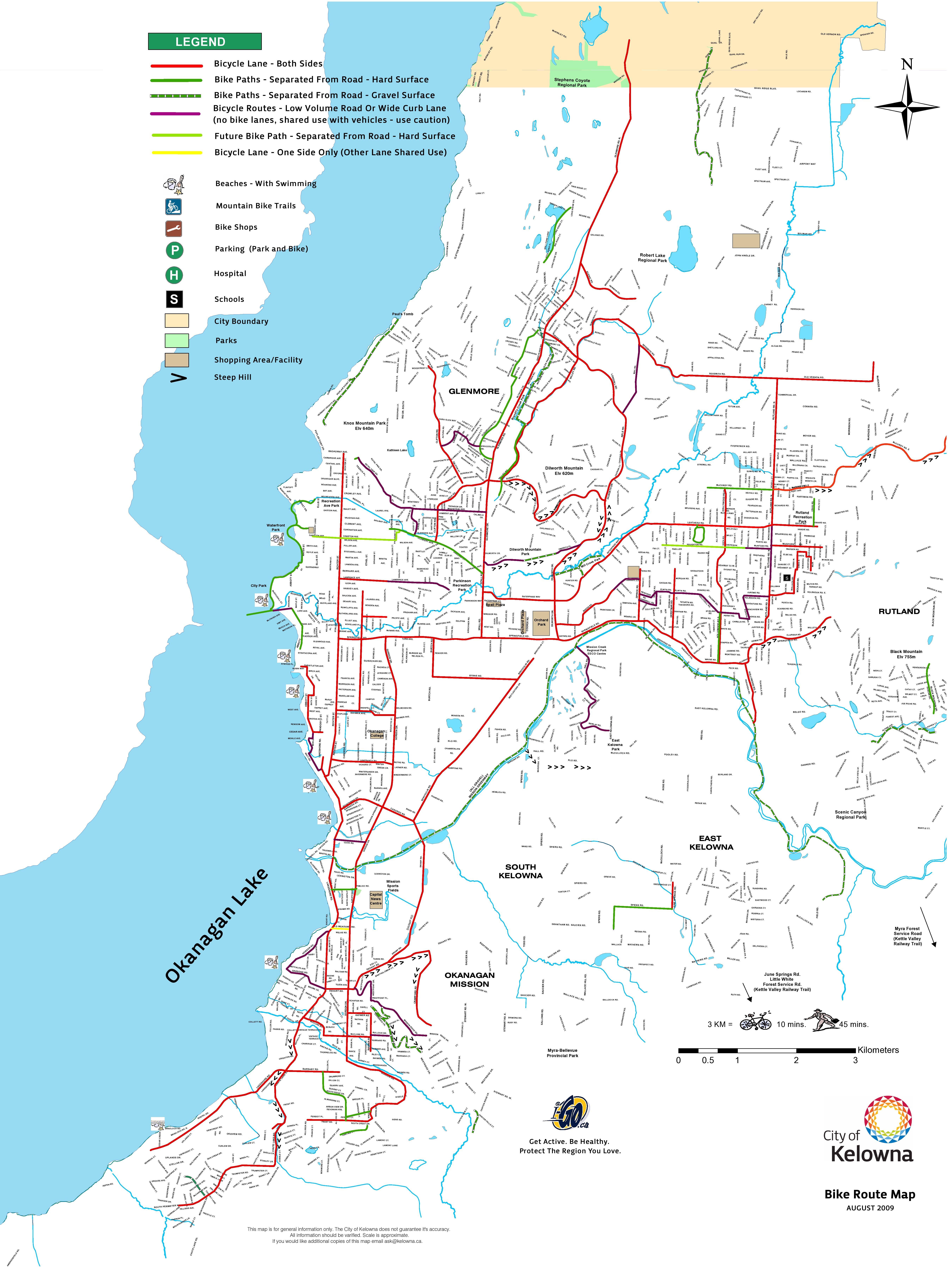 Map Of Canada Showing Kelowna.City Of Kelowna Kelowna Bicycle Route Map Vignoble Et Region C B