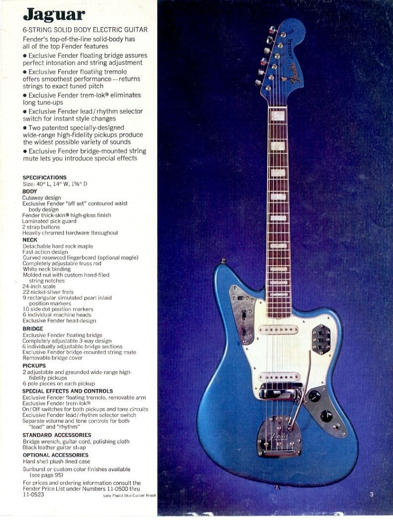 vintage ad for the fender jaguar lake placid blue with. Black Bedroom Furniture Sets. Home Design Ideas