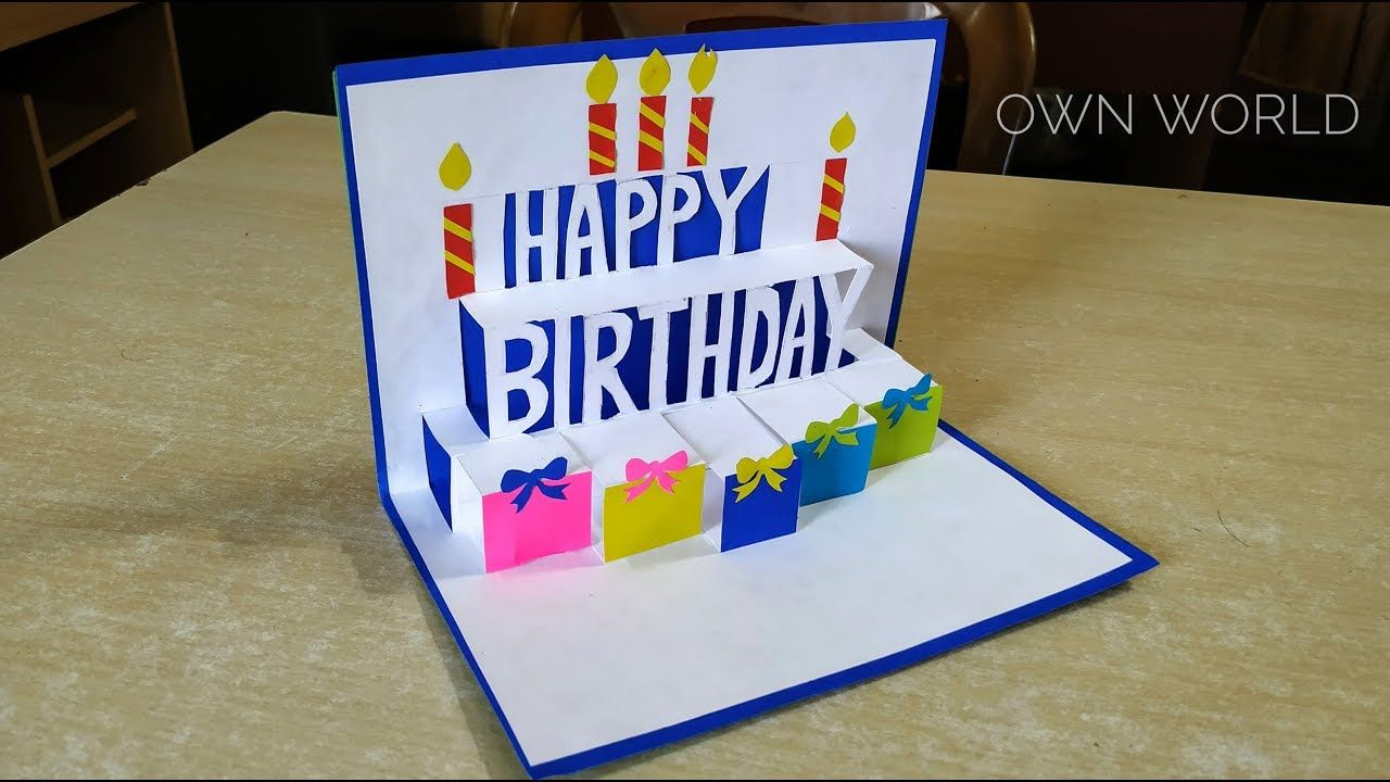 Beautiful Birthday Greeting Card Idea  DIY Birthday pop-up card