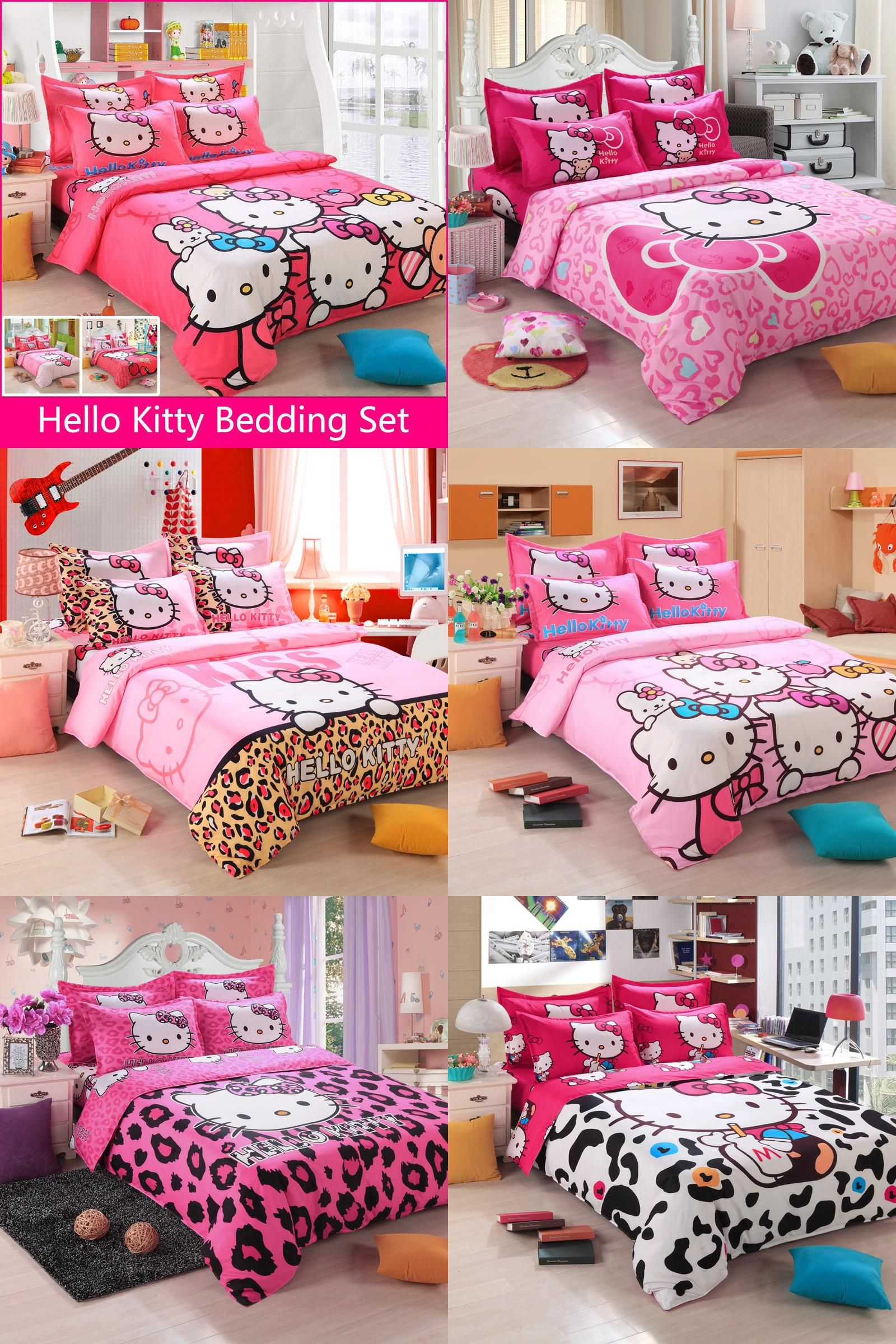 ac9bf37b2 [Visit to Buy] Brand Logo Hello Kitty Bedding Set Children Cotton Bed  sheets Hello Kitty Duvet Cover Sheet Pillowcase King/Queen/Twin 4Pcs BS35 #  ...