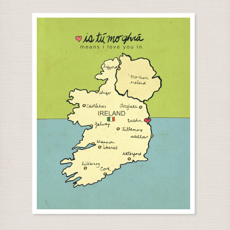 Home Children Decor Kids Room Irish Wall Art Poster - I Love You in ...