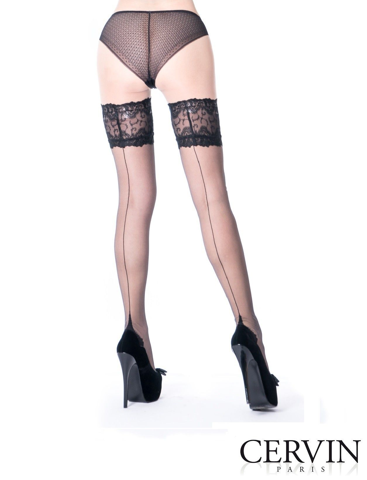 1c7ae14411c88 Autentiche calze di nylon con cucitura autoreggenti Cervin Paris