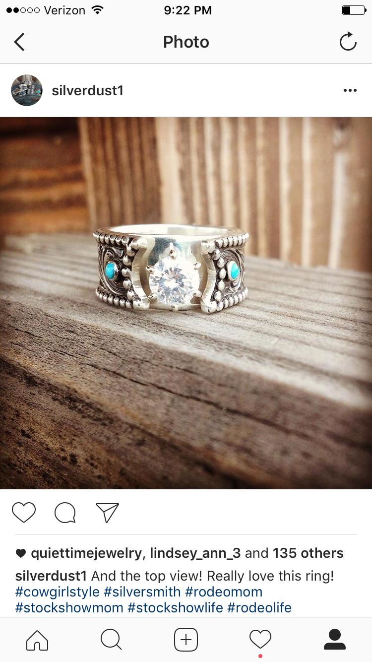 Western Ring Silver Dust Annie Wangsgard Turquoise Wedding Rings Western Wedding Rings Western Engagement Rings