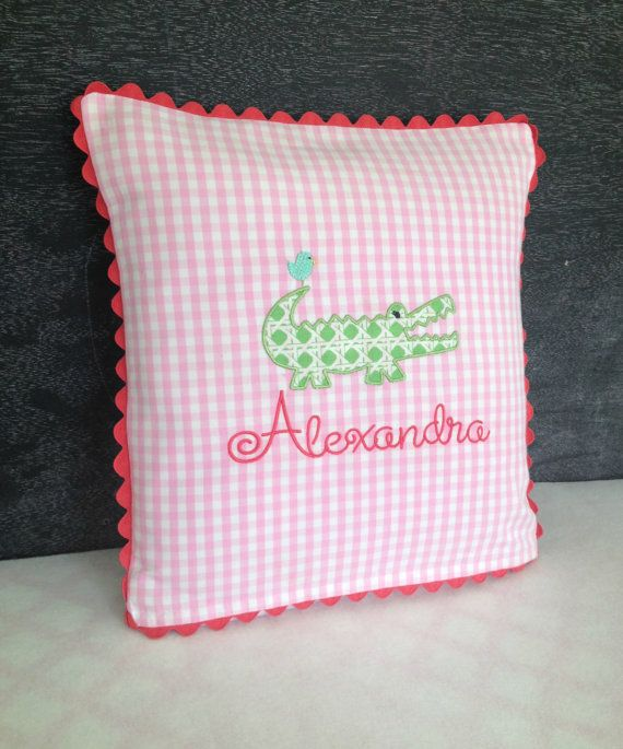 14 x 14 Alligator Pillow by peppermintbee on Etsy, $46.00