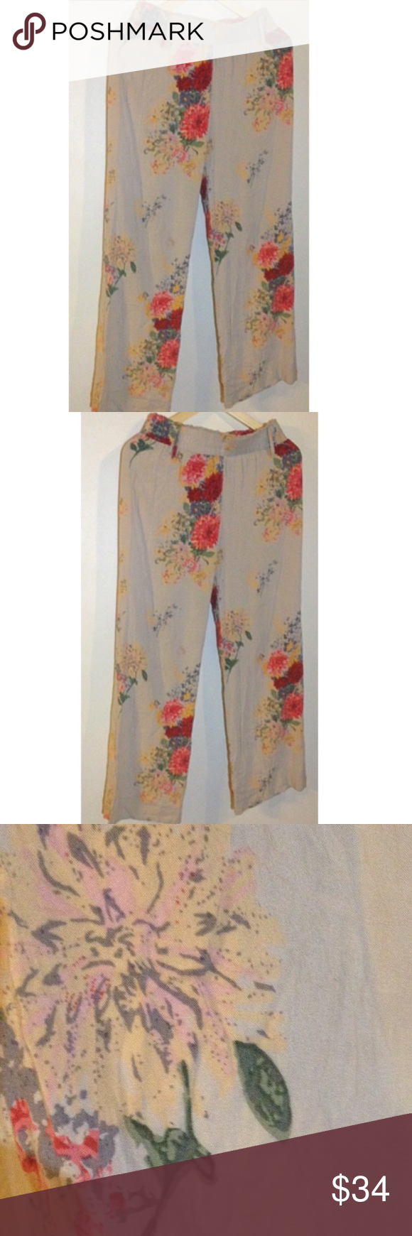 ❤️MAKE OFFER Harlem Pants Loose Floral Harlem Pants Gorgeous Print in gray size small like new stain free blemish free perfect for fall !! Super cute and beautiful pattern Soho Pants Track Pants & Joggers