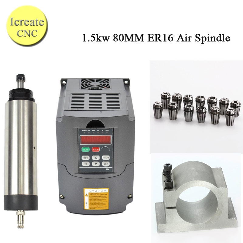 340.00$  Watch more here - http://ai0i2.worlditems.win/all/product.php?id=32759170263 - Free Shipping 1.5KW Air Cooled Spindle Milling Machine Spindle Motor & Matching 1500W 220V Inverter + 80mm Clamp + ER16 Collet