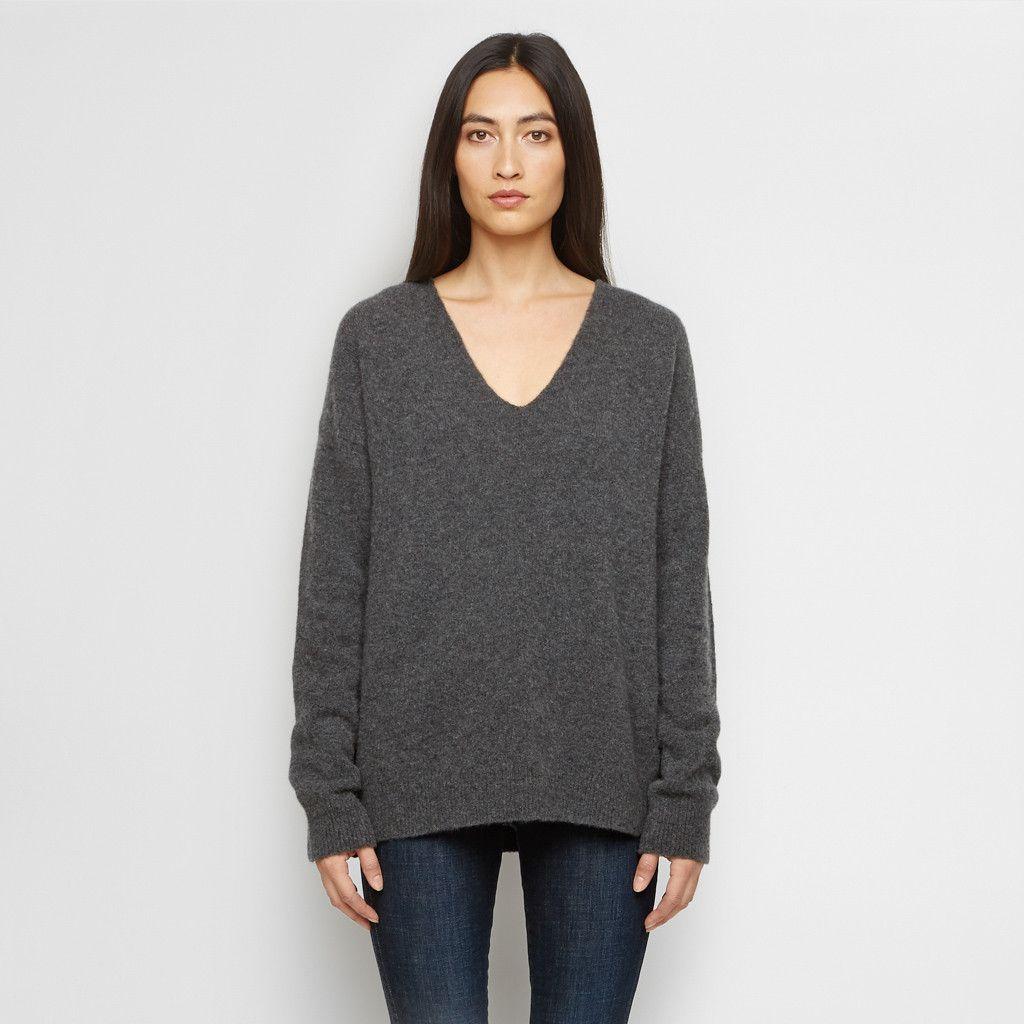 Cashmere Felt V Neck Sweater - Charcoal | Cashmere, Cashmere ...