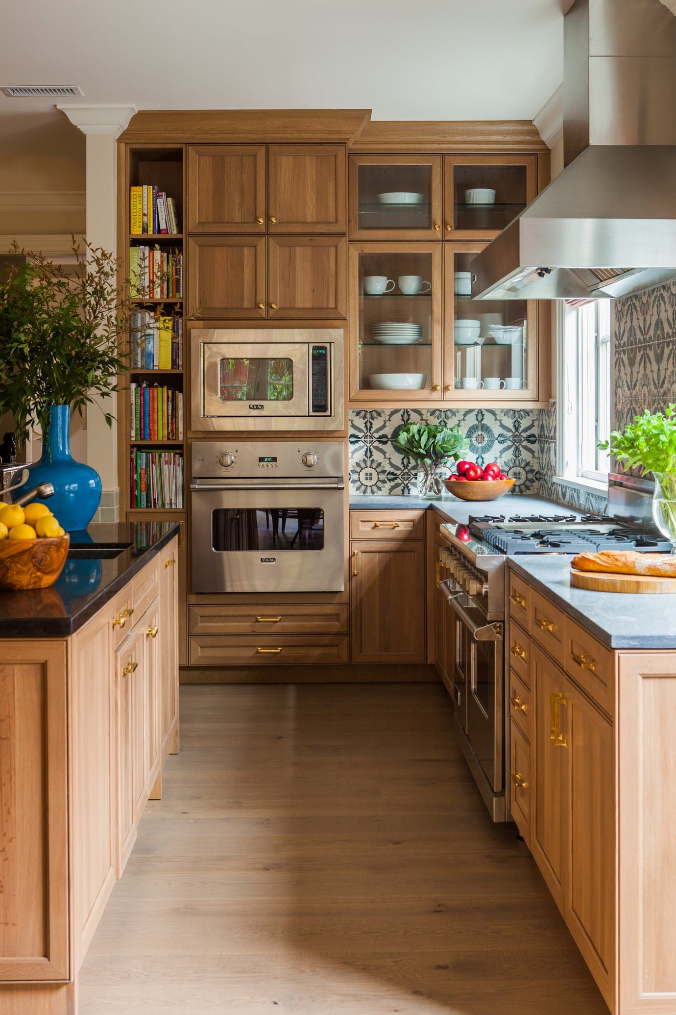 Presidio Heights Kitchen with warm wood cabinets and patterned tile