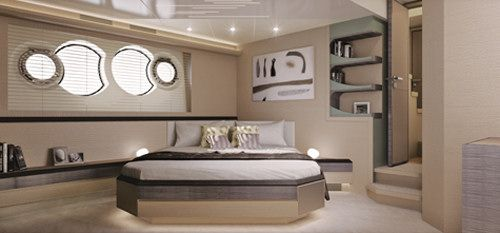 Monte Carlo Yachts 70: This view shows the step down entry into the spacious and beautifully appointed master cabin.