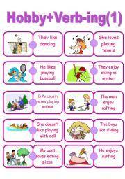 English Worksheet Hobby Verb Ing
