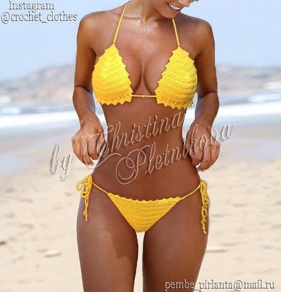 #Häkeln Sie Badebekleidung Bohème Crochet bikini cheeky brazilian top and scrunch g-string bottom set yellow #Häkeln Sie Badebekleidung Ganchillo