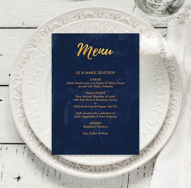 Navy & Gold Menu | Modern calligraphy, Rsvp and Wedding