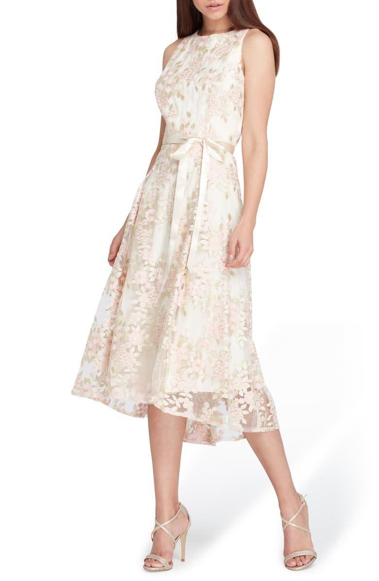 Tahari Floral Embroidered Dress Regular Petite Nordstrom Embroidered Dress Floral Embroidered Dress Tea Length Dresses