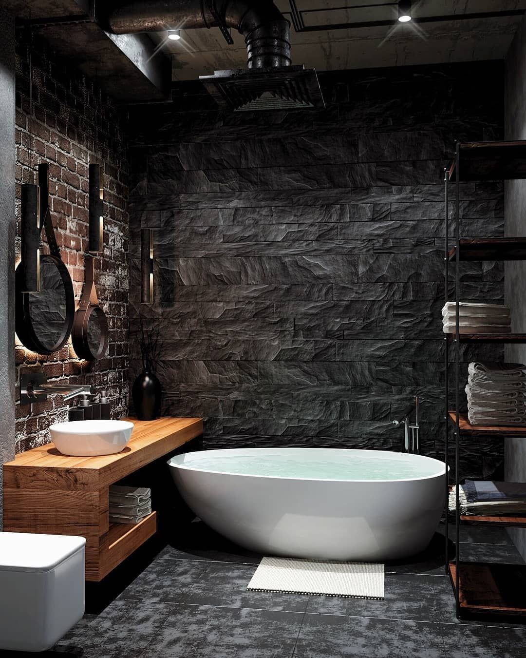 I Liked The Dark Finish Of This Bathroom Do You Like It Too حبيت هاللون Top Bathroom Design Industrial Bathroom Design Bathroom Design