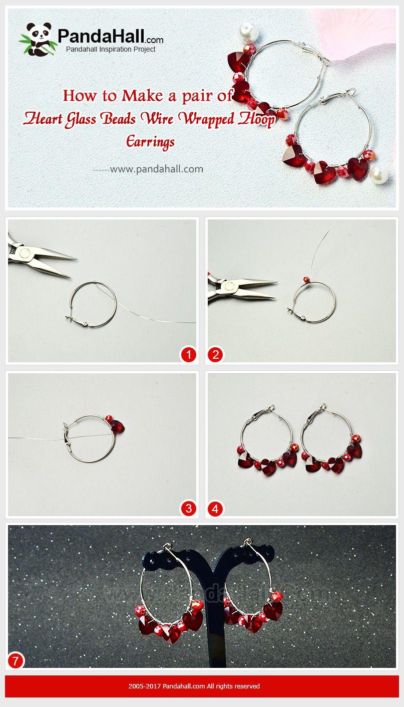 Heart Glass Beads Wire Wrapped Hoop Earrings Do you wanna show up ...