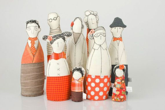 This Multi-generational Extended family and friends - grandparents, parents ,uncleand and children dressed in Orange and beige , stripes and polka dots is part of TIMO-HANDMADE a small design line, all hand-made.