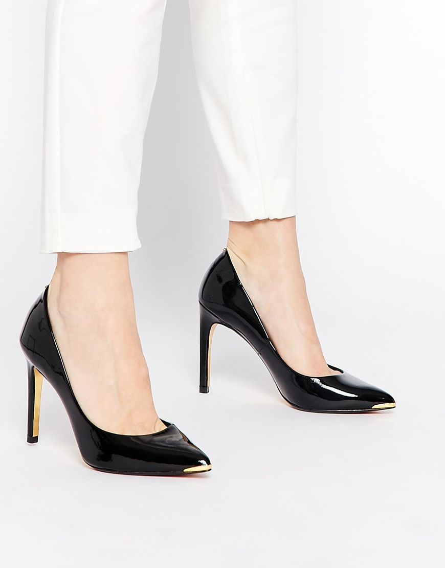 Ted Baker Neevo 4 Black Patent Heeled Court Shoes