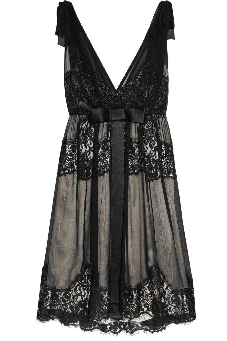 Lace Trimmed Silk Blend Dress Sheer Mini Dress Short Black Cocktail Dress Embellished Cocktail Dress [ 1380 x 920 Pixel ]