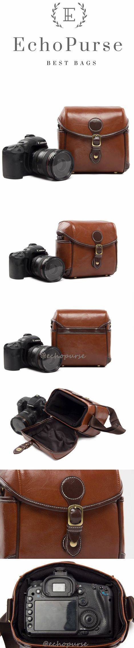 Hot Sale PU Leather DSLR Camera Purse, Vintage Brown SLR Camera Case 288 #camerapurse