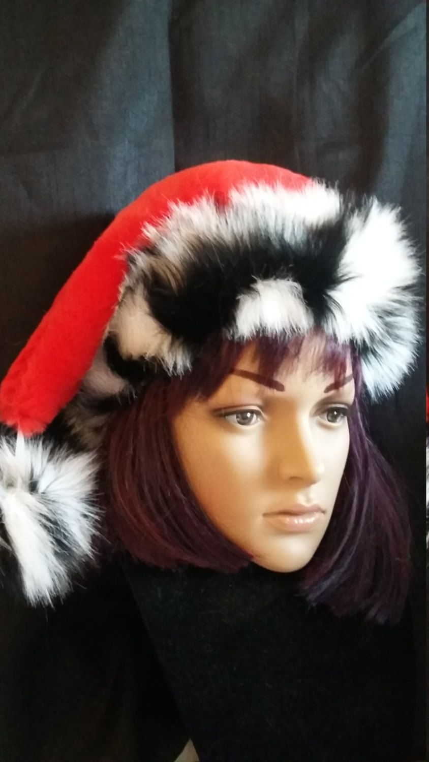 a8d68e81285cb Limited Edition red Santa hat with luxurious black and white zebra trim by  OriginalsByEva on Etsy