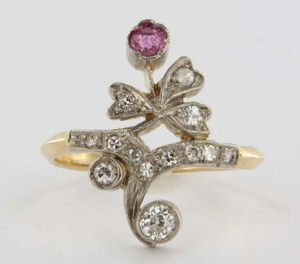 Antique Victorian 14k Gold Diamond Ruby Posey Ring Vintage Fine Jewelry Heirloom