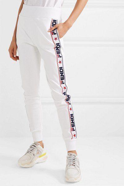 34cc0ee21f3a Fendi appliquéd cotton-blend jersey track pants.  fendi  activewear
