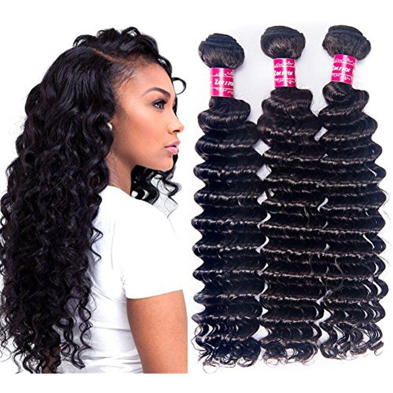 Zorssar Hair 3 Bundles Brazilian Deep Wave Virgin Hair Extensions 16