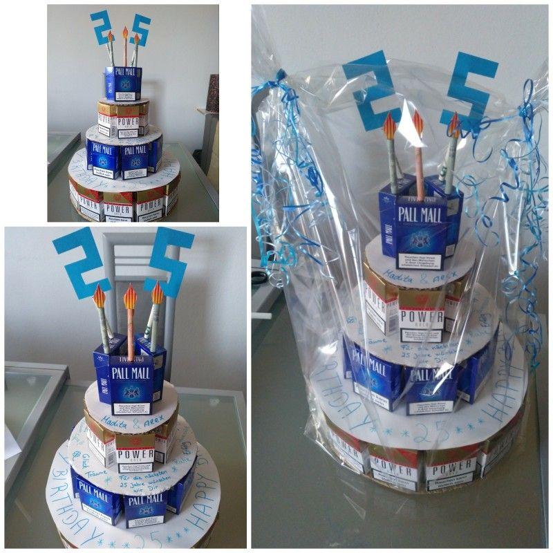 Geschenk 25 Geburtstag Zigaretten Schachteln Torte