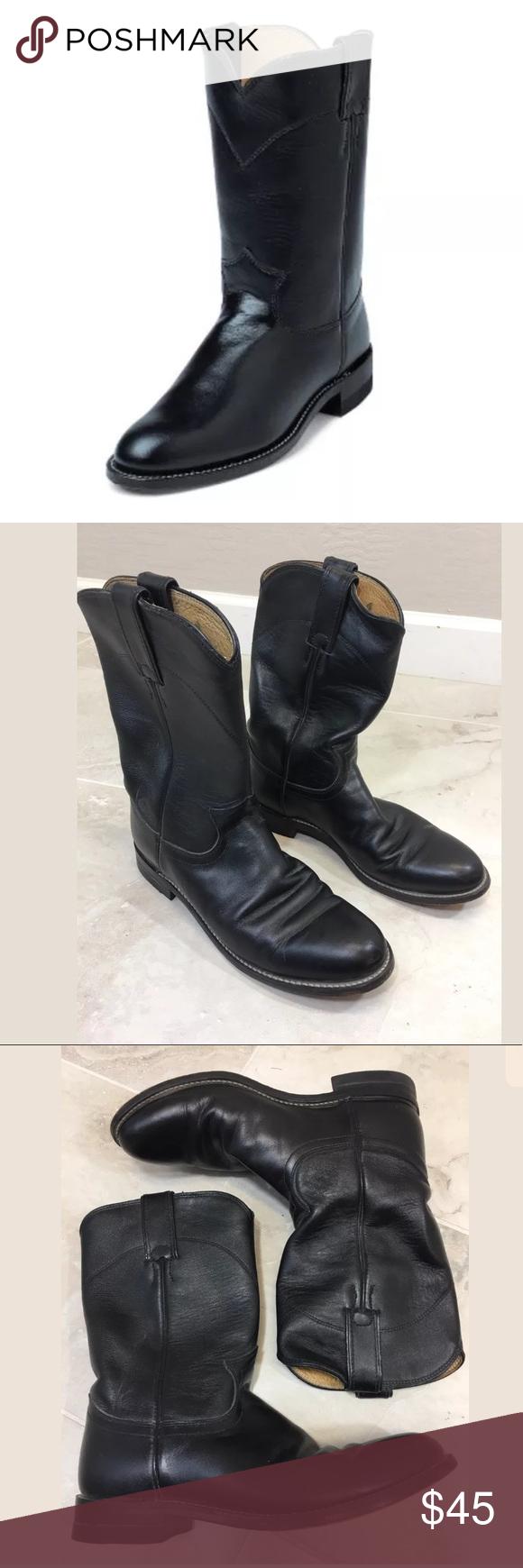 268a8971f03 Justin Women's Black Leather Roper Boots 7.5 B 'Cora' kipskin Black ...