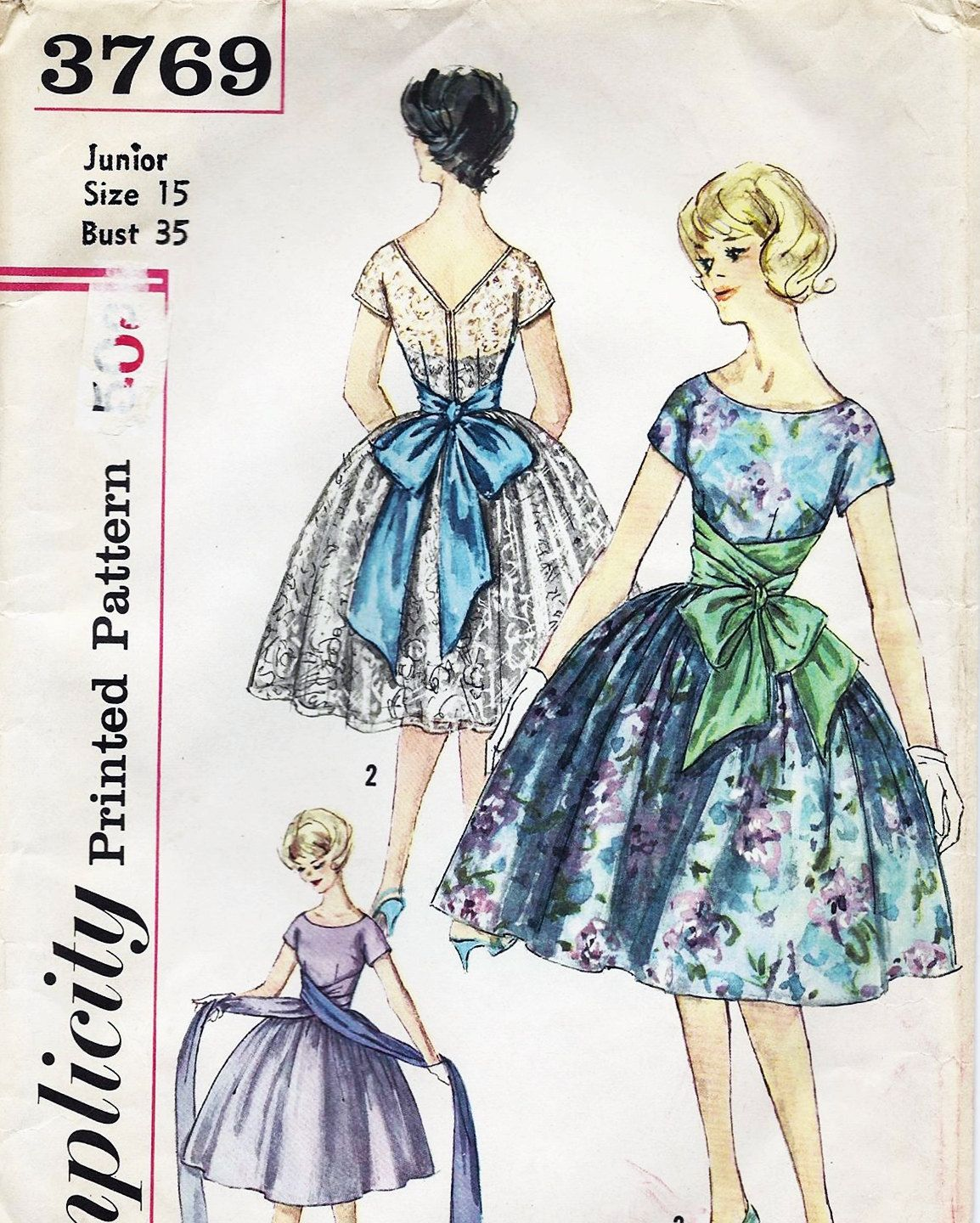 Vintage Junior Misses Dress Simplicity Pattern, 1960s,Pattern 3769, Factory Folded and Uncut, Free Shipping, Size Junior 15, Sewing. $22,00, via Etsy.