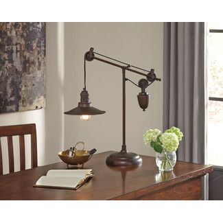 Siganture Design By Ashley Kylen Bronze Finish Metal Desk Lamp