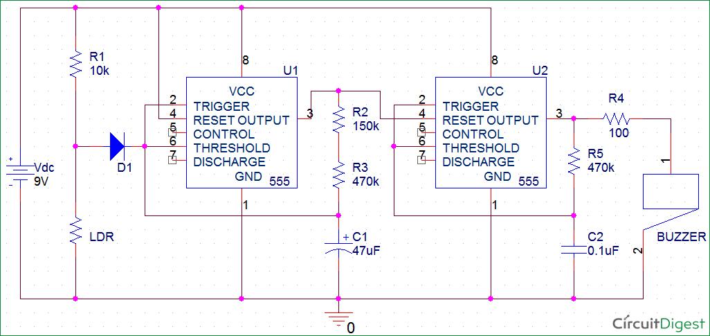 Fridge Door Alarm Circuit Diagram using 555 and LDR | Electronic ...