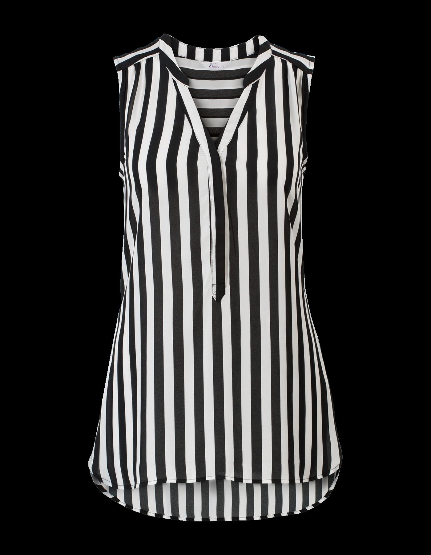 Beroemd Zwart-wit gestreepte blouse zonder mouwen met een V-hals @YO64