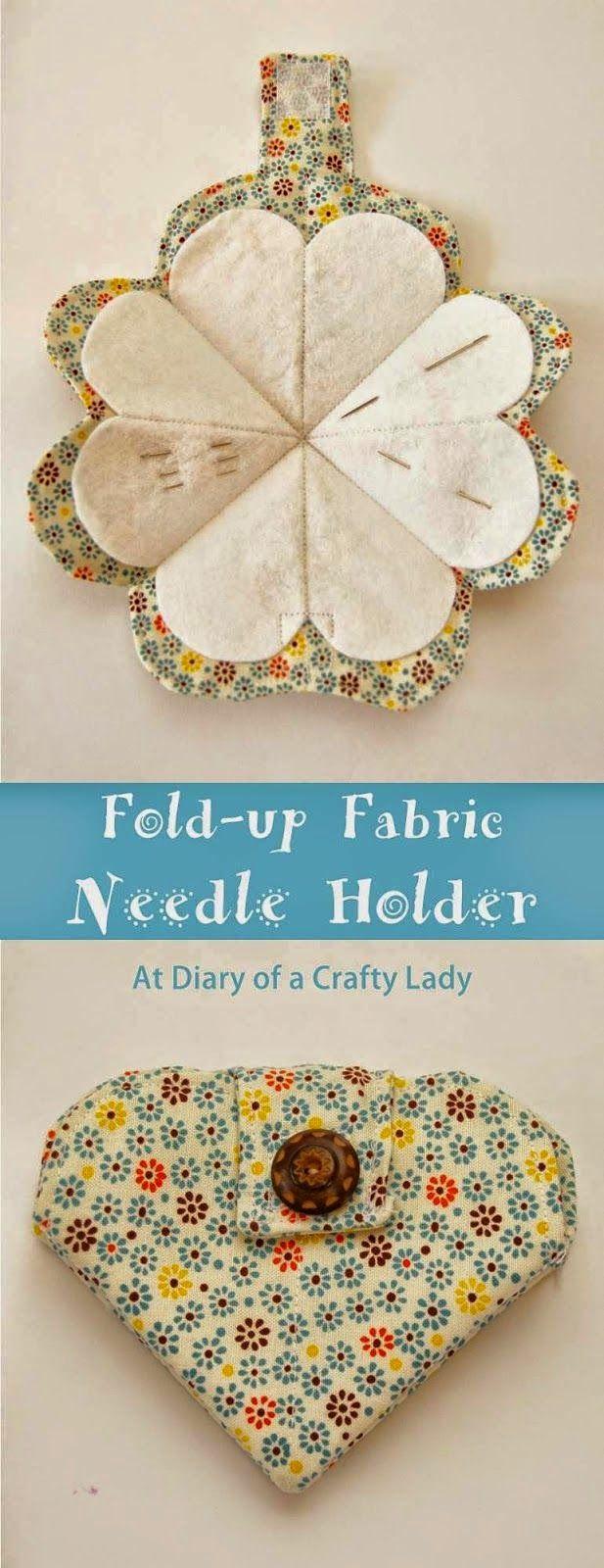 Fold-up Fabric Needle Holder - tutorial … | Sew What? | Pinterest ...